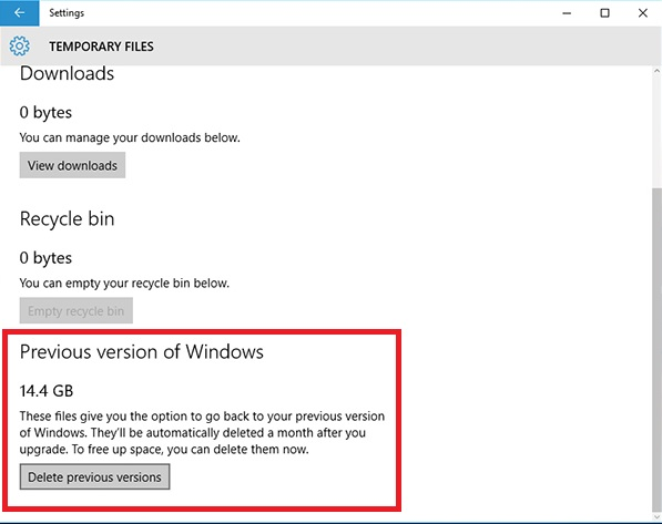 Regain Space After Windows 10 Update 5